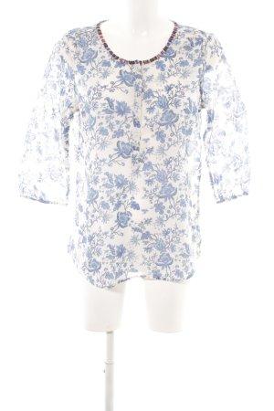 Maison Scotch Langarm-Bluse weiß-stahlblau Blumenmuster Casual-Look
