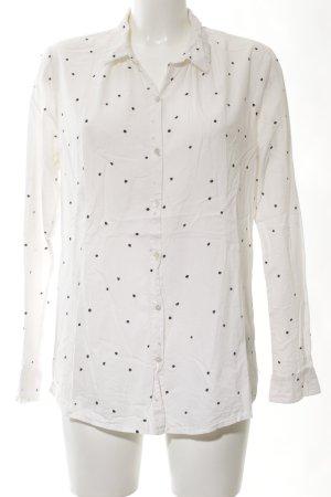 Maison Scotch Langarmhemd weiß-schwarz Allover-Druck Business-Look