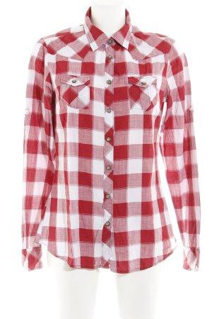 Maison Scotch Langarmhemd dunkelrot-weiß Vichykaromuster Casual-Look