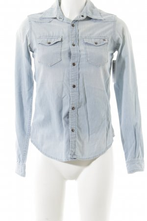 Maison Scotch Langarmhemd himmelblau Jeans-Optik