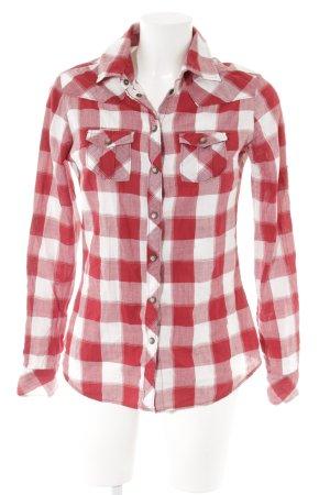 Maison Scotch Langarmhemd rot-weiß Karomuster sportlicher Stil