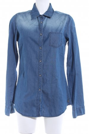 Maison Scotch Langarmhemd stahlblau-kornblumenblau Street-Fashion-Look