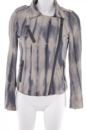 Maison Scotch Leather Jacket grey violet-beige abstract print casual look