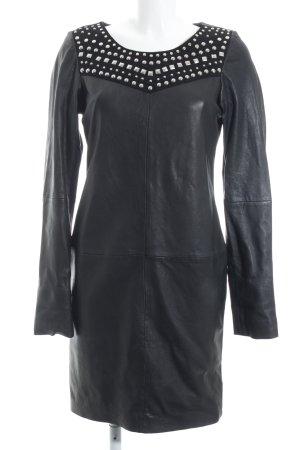 Maison Scotch Leren jurk zwart-zilver feest stijl