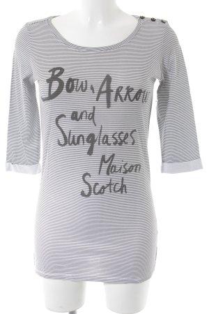 Maison Scotch Longsleeve dunkelgrau-weiß Schriftzug gedruckt Casual-Look