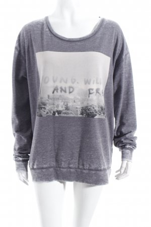 Maison Scotch Longsleeve grau Motivdruck Washed-Optik