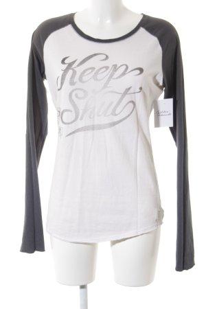 Maison Scotch Longsleeve grau-wollweiß Schriftzug gedruckt Casual-Look