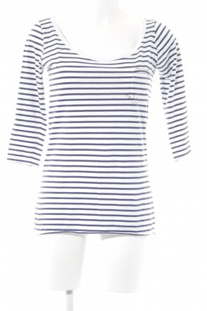 Maison Scotch Longsleeve weiß-dunkelblau Streifenmuster Casual-Look
