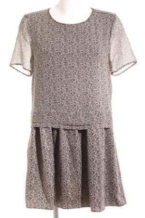 Maison Scotch Minikleid schwarz-beige Allover-Druck Elegant