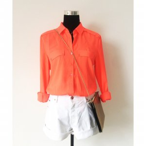 Maison Scotch oversize Bluse langarm Neon Look 36 38 Sommer