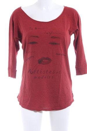 Maison Scotch Print-Shirt rostrot Schriftzug gedruckt Casual-Look