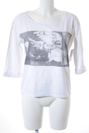 Maison Scotch Print-Shirt weiß-grau Casual-Look