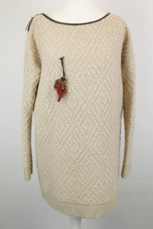 Maison Scotch Pullover Strickpullover Longpullover Gr. 2 / S creme oversized mit Federdetail
