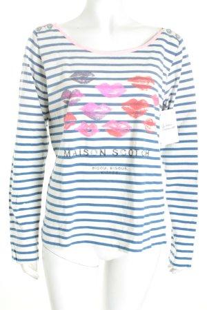 Maison Scotch Pullover weiß-blau Streifenmuster Casual-Look