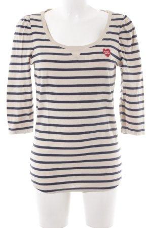 Maison Scotch Gestreept shirt beige-donkerblauw horizontale strepen
