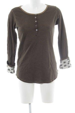 Maison Scotch Gestreept shirt zwart-olijfgroen gestreept patroon