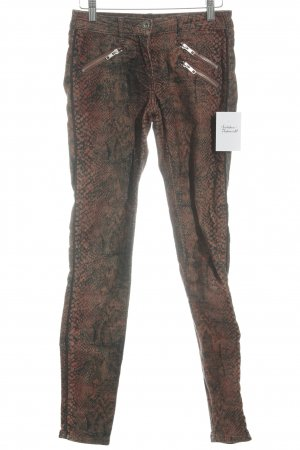 Maison Scotch Pantalon cigarette orange foncé-vert foncé motif animal