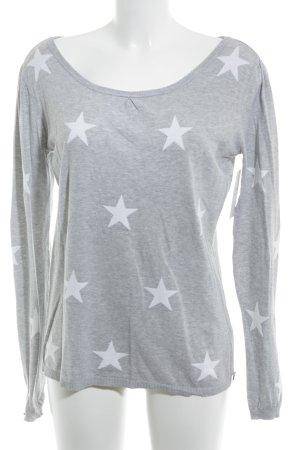 Maison Scotch Crewneck Sweater white-light grey star pattern casual look