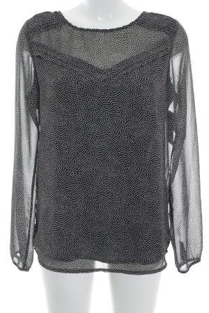 Maison Scotch Schlupf-Bluse schwarz-creme Punktemuster Casual-Look
