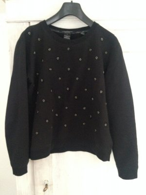 Maison Scotch, schwarzer Sweater mit Stickerei, Gr 1