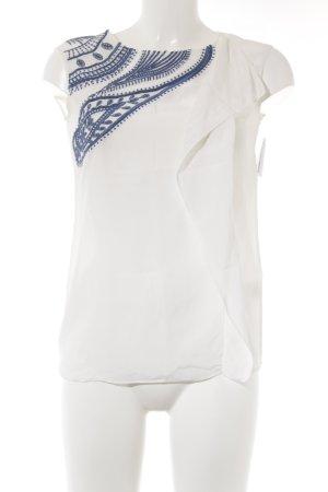 Maison Scotch Seidenbluse weiß-dunkelblau Casual-Look