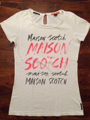 Maison Scotch Shirt weiß mit Schriftzug Größe S