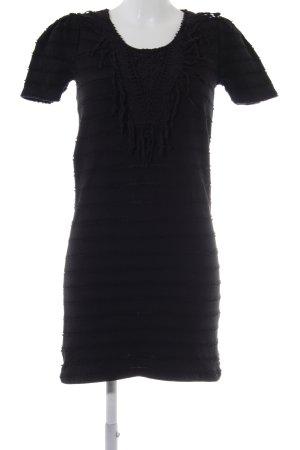 Maison Scotch Shirtkleid schwarz Fransenbesatz