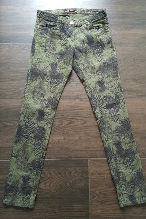 Maison Scotch Skinny Jeans W27 L32 khaki/schwarz Federn Muster