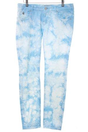 Maison Scotch Slim Jeans babyblau-weiß Batikmuster Casual-Look