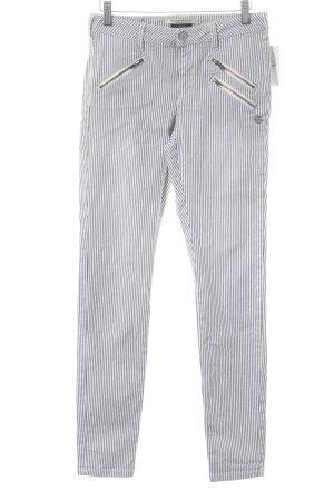 Maison Scotch Slim Jeans stahlblau-weiß Streifenmuster Street-Fashion-Look