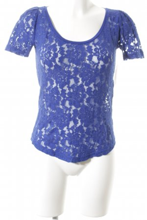 Maison Scotch Spitzenbluse blau Romantik-Look