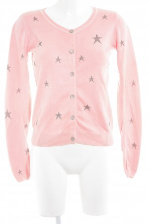Maison Scotch Strick Cardigan neonpink-grau Sternenmuster Casual-Look