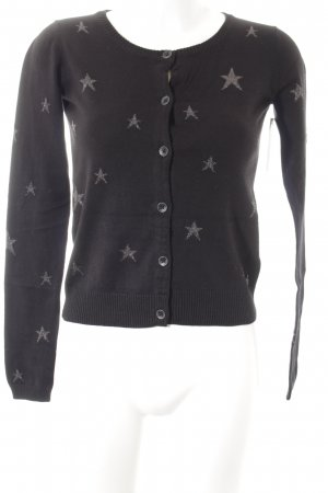 Maison Scotch Strickjacke schwarz-silberfarben Sternenmuster Casual-Look