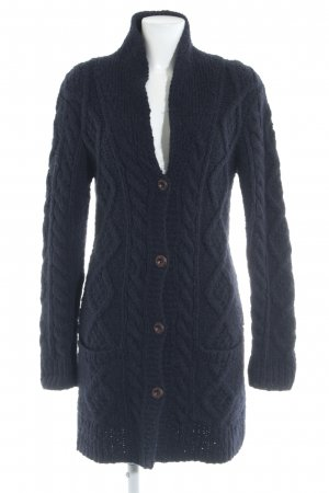 Maison Scotch Knitted Coat dark blue cable stitch casual look