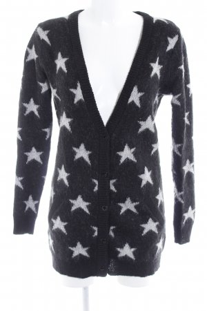 Maison Scotch Knitted Coat black-natural white star pattern casual look