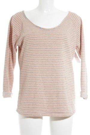 Maison Scotch Knitted Sweater grey-neon orange striped pattern casual look