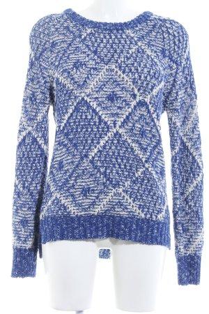 Maison Scotch Strickpullover weiß-blau abstraktes Muster