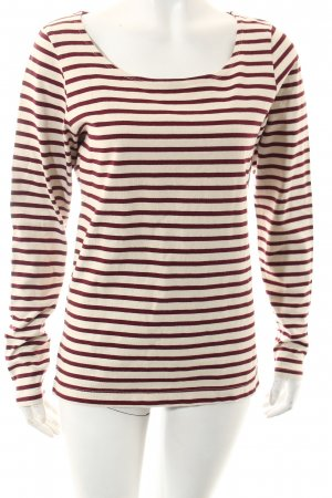 Maison Scotch Strickpullover weiß-bordeauxrot Streifenmuster Casual-Look