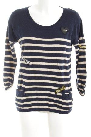 Maison Scotch Strickshirt weiß-dunkelblau Ringelmuster Segel-Look