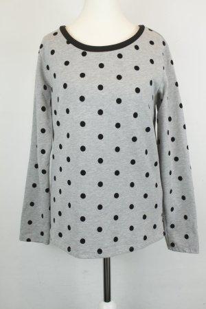 Maison Scotch Sweater Sweatshirt Gr. 1 / 36 grau schwarz Punkte aus Samt