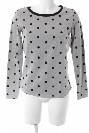 Maison Scotch Sweatshirt hellgrau-schwarz Punktemuster Casual-Look