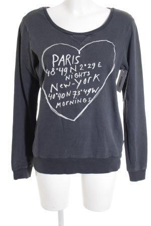 Maison Scotch Sweatshirt petrol-weiß Schriftzug gestickt Casual-Look