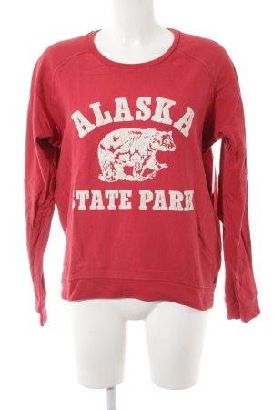 Maison Scotch Sweatshirt rot-weiß Schriftzug gedruckt Logoprint