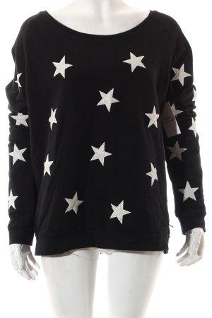Maison Scotch Sweatshirt schwarz-weiß Sternenmuster Casual-Look