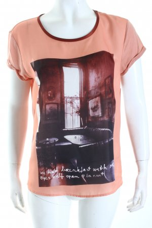 Maison Scotch T-Shirt altrosa-braunrot Motivdruck Casual-Look
