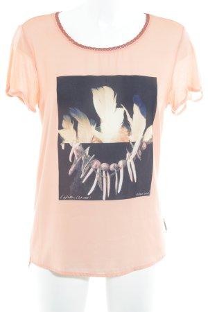 Maison Scotch T-Shirt apricot-schwarz Motivdruck Casual-Look
