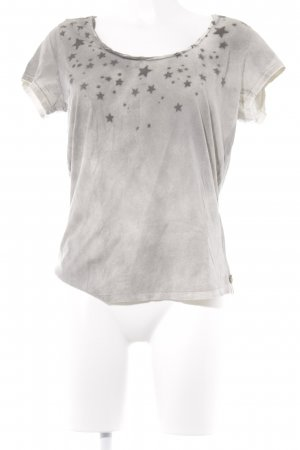 Maison Scotch T-Shirt grau-anthrazit Sternenmuster Used-Optik