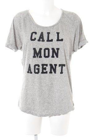 Maison Scotch T-Shirt hellgrau-schwarz Schriftzug gedruckt Casual-Look