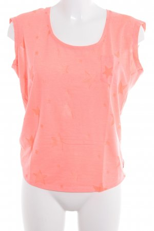 Maison Scotch T-Shirt neonorange Sternenmuster Comic-Look