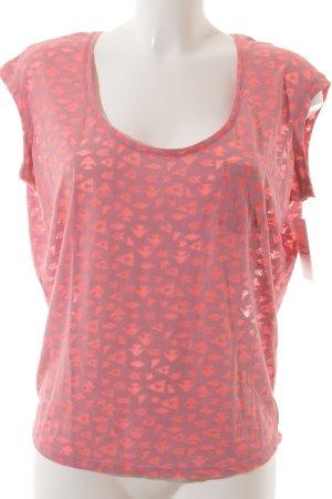 Maison Scotch T-Shirt neonpink-hellgrau grafisches Muster Casual-Look